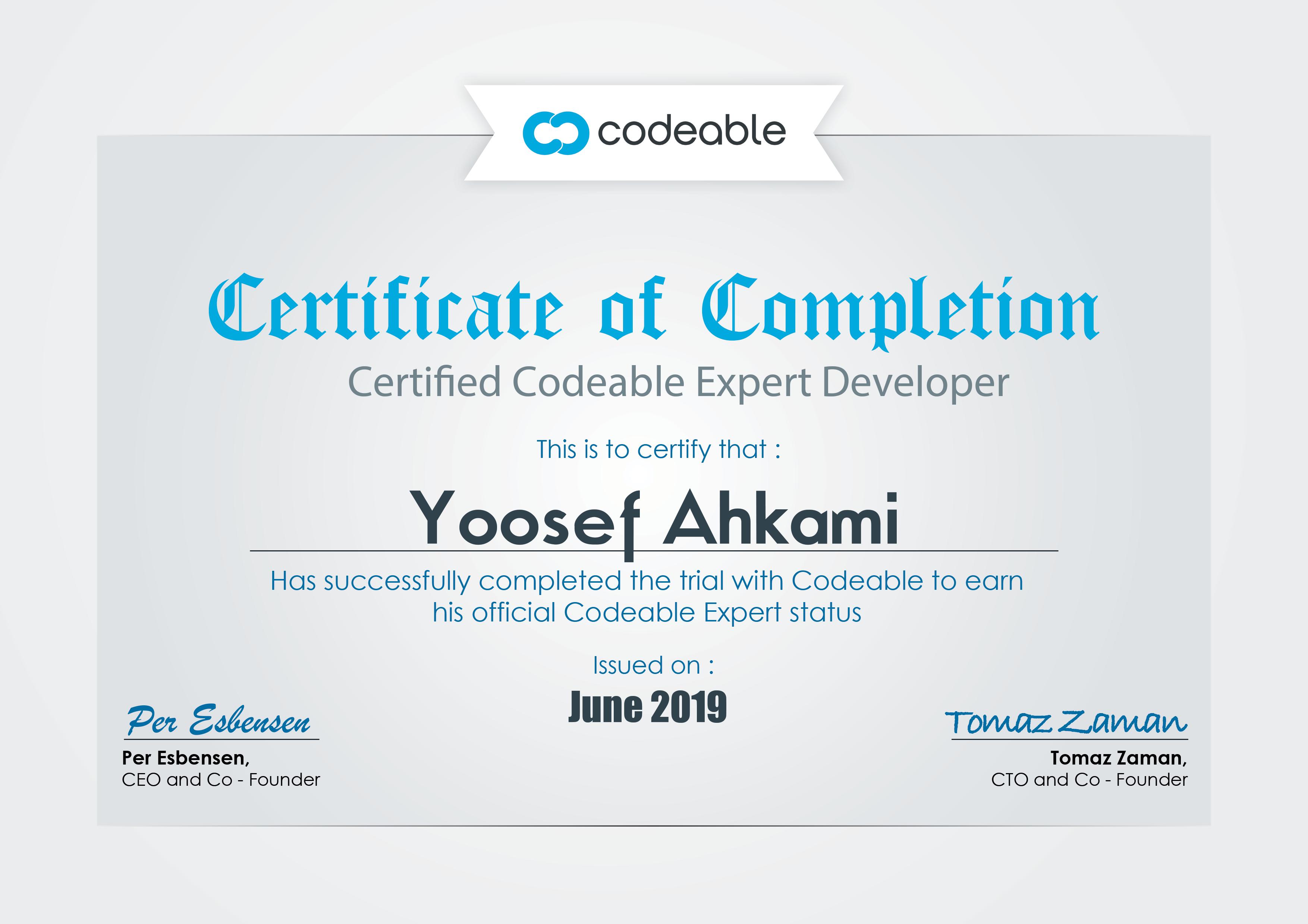Yoosef Ahkami Codeable Certificate