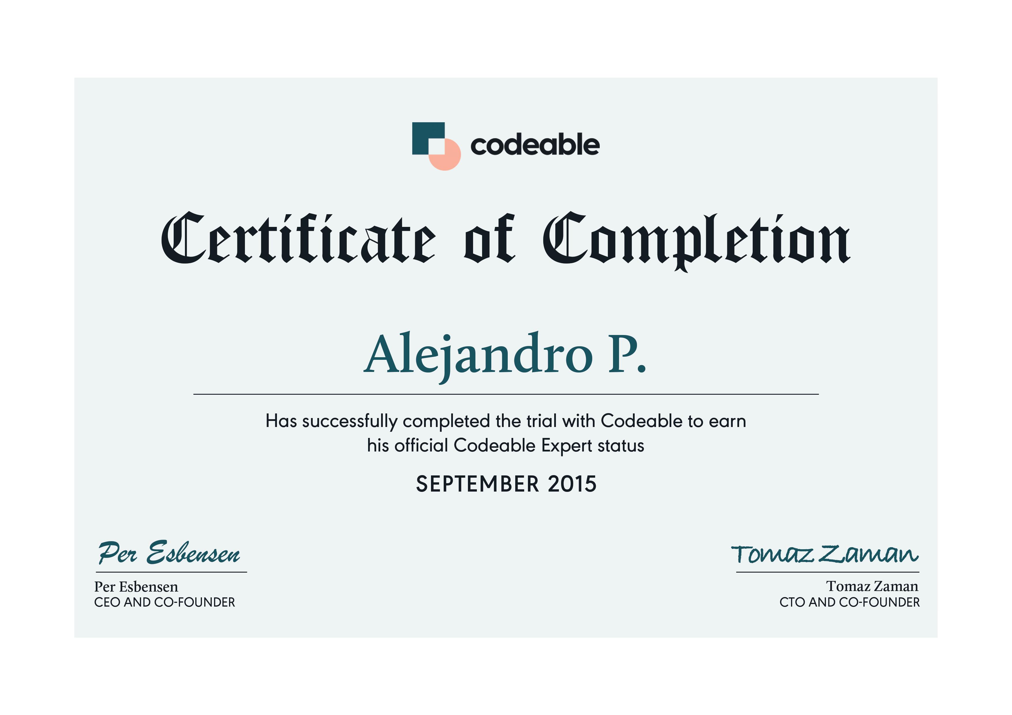 Alejandro P Codeable Certificate