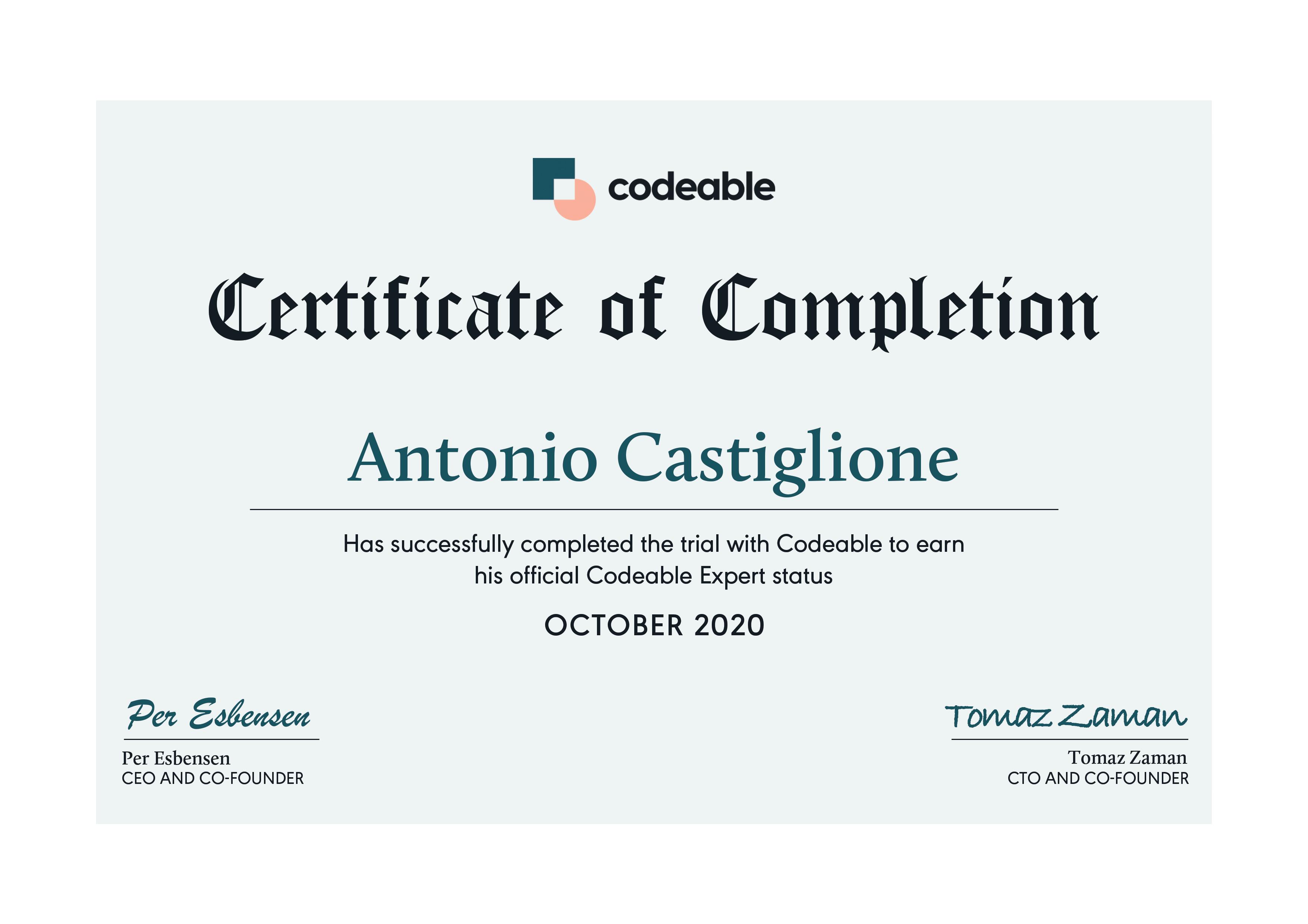 Antonio Castiglione - Certified Codeable Expert
